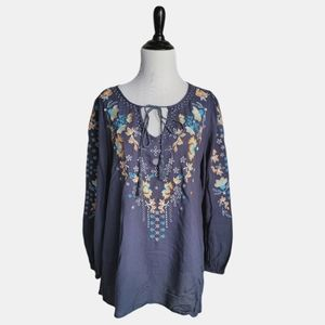 Andree Blue embroidered peasant tunic top